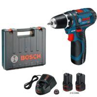 Bosch Akkumulátoros csavarozó GSR 12V-15, 2 x 2.0Ah, 30 Nm, 1300 ford./perc (0601868122)