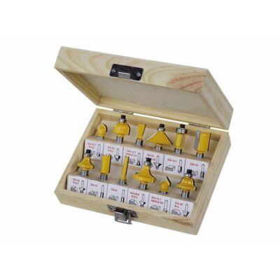 Felsőmaró készlet 12 részes, fa dobozban, 8mm